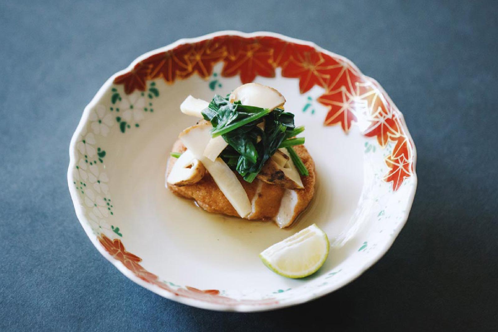 甘鯛と甘海老の真丈 松茸と菊菜の煮びたし